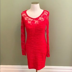 Forever 21 red lace long sleeve ruched dress